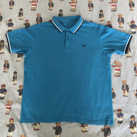 Vintage Blue Fred Perry Polo Shirt (L)-Polos-DISTINCT - THREADS