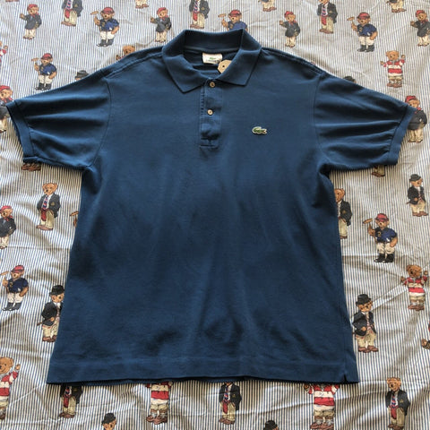 Vintage Blue Lacoste Polo Shirt 🐊 (5/M)-Polos-DISTINCT - THREADS