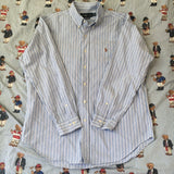 Vintage Blue Pinstripe Ralph Lauren Button Down Shirt (L)-Shirts-DISTINCT - THREADS