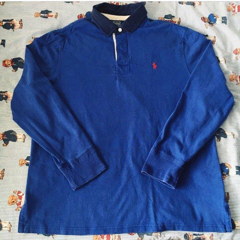 Vintage Blue Ralph Lauren Rugby Shirt 🔵 (L)-Rugby Tops-DISTINCT - THREADS