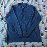 Vintage Blue Ralph Lauren Rugby Shirt (M)-Rugby Tops-DISTINCT - THREADS