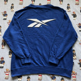 Vintage Blue Reebok Sweatshirt (M)-Sweatshirts/Jumpers-DISTINCT - THREADS