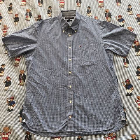 Vintage Blue Tommy Hilfiger Short Sleeved Check Shirt (L)-Shirts-DISTINCT - THREADS