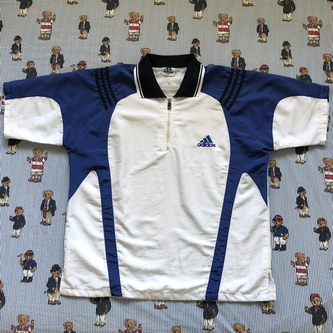 Vintage Blue & White Adidas Track T Shirt (XL)-T Shirts-DISTINCT - THREADS