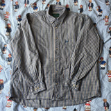 Vintage Blue & Yellow Check Fred Perry Button Down Shirt (L)-Shirts-DISTINCT - THREADS