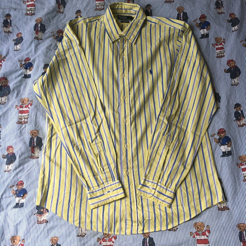 Vintage Blue & Yellow Pinstripe Ralph Lauren Button Down Shirt (L)-Shirts-DISTINCT - THREADS