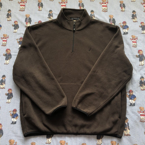 Vintage Brown Nautica 1/4 Zip Fleece (XL/L)-Fleeces-DISTINCT - THREADS