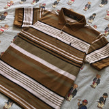 Vintage Brown & White Striped Ralph Lauren Polo Shirt (M/S)-Polos-DISTINCT - THREADS