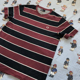 Vintage Burgundy & Black Stripe Fred Perry T shirt (L)-T Shirts-DISTINCT - THREADS
