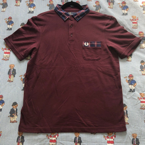 Vintage Burgundy Fred Perry Polo Shirt (L)-Shirts-DISTINCT - THREADS