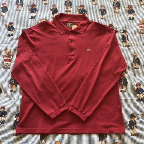 Vintage Burgundy Lacoste Long Sleeve Polo Shirt 🐊 (4/S/M)-Polos-DISTINCT - THREADS