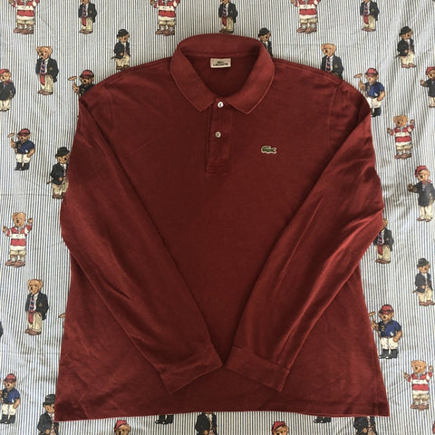 Vintage Burgundy Lacoste Long Sleeve Polo Shirt 🐊 (6/L)-Polos-DISTINCT - THREADS