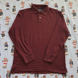 Vintage Burgundy Nautica Long Sleeve Polo Shirt (M)-Polos-DISTINCT - THREADS