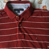 Vintage Burgundy Tommy Hilfiger Long Sleeve Polo Shirt (L)-Polos-DISTINCT - THREADS