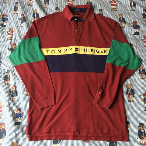 Vintage Burgundy Tommy Hilfiger Long Sleeve Polo Shirt 🔥 (M)-Polos-DISTINCT - THREADS