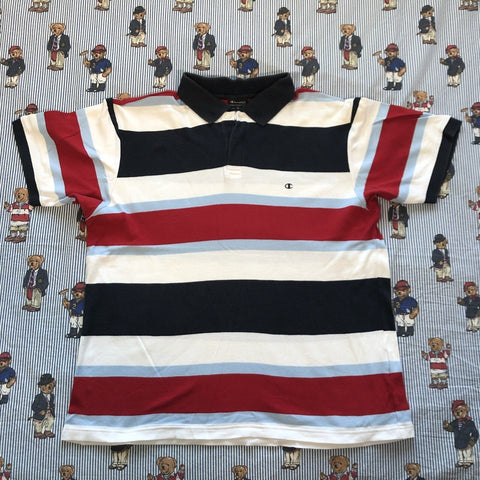 Vintage Champion Striped Polo Shirt (L)-Polos-DISTINCT - THREADS