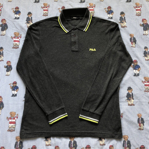 Vintage Charcoal Grey Fila Long Sleeve Polo Shirt (M)-Polos-DISTINCT - THREADS