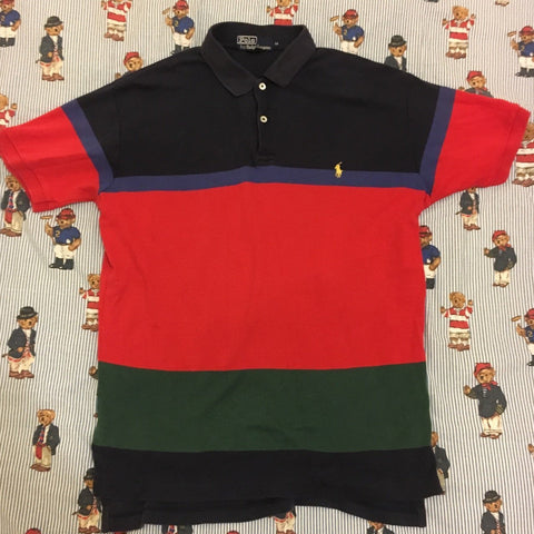 Vintage Colour Block Ralph Lauren Polo Shirt (M)-Polos-DISTINCT - THREADS