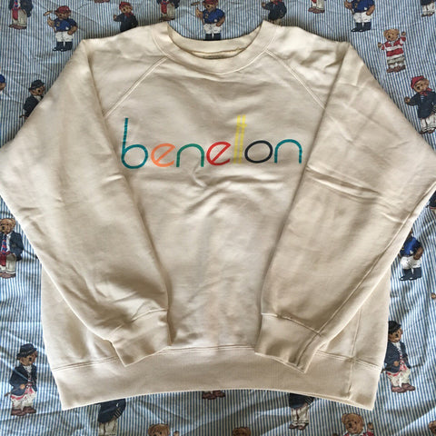 Vintage Cream 80's United Colors Of Benetton Sweatshirt (L)-Sweatshirts/Jumpers-DISTINCT - THREADS
