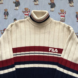 Vintage Cream & Navy Fila Turtle Neck Jumper (M)-Sweatshirts/Jumpers-DISTINCT - THREADS