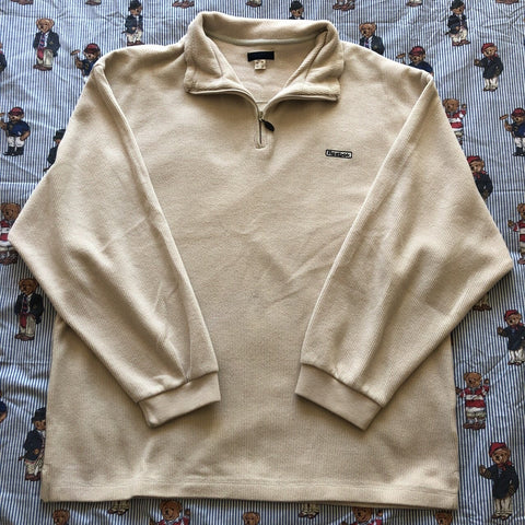 Vintage Cream Reebok 1/4 Zip Sweatshirt ☁️ (L)-Sweatshirts/Jumpers-DISTINCT - THREADS