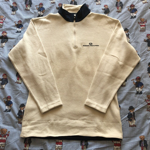 Vintage Cream Sergio Tacchini 1/4 Zip Sweatshirt (M)-Sweatshirts/Jumpers-DISTINCT - THREADS