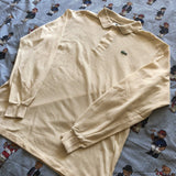Vintage Cream/Off White Lacoste Long Sleeve Polo Shirt 🐊 (4/S/M)-Polos-DISTINCT - THREADS