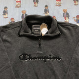 Vintage Dark Grey Champion 1/4 Zip Sweatshirt (M)-Sweatshirts/Jumpers-DISTINCT - THREADS