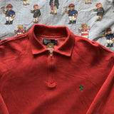 Vintage Dusty Red Ralph Lauren 1/4 Zip Sweatshirt-Sweatshirts/Jumpers-DISTINCT - THREADS