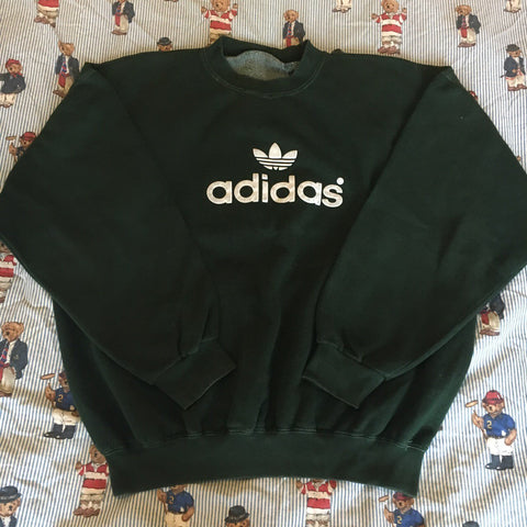 Vintage Forest Green Adidas Sweatshirt 🌲 (L)-Sweatshirts/Jumpers-DISTINCT - THREADS