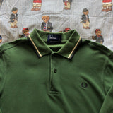 Vintage Forest Green Fred Perry Long Sleeve Polo Shirt (S)-Polos-DISTINCT - THREADS