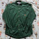 Vintage Forest Green Tommy Hilfiger Shirt (M)-Shirts-DISTINCT - THREADS