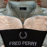 Vintage Fred Perry Spell Out 1/4 Zip Sweatshirt (M)-Sweatshirts/Jumpers-DISTINCT - THREADS