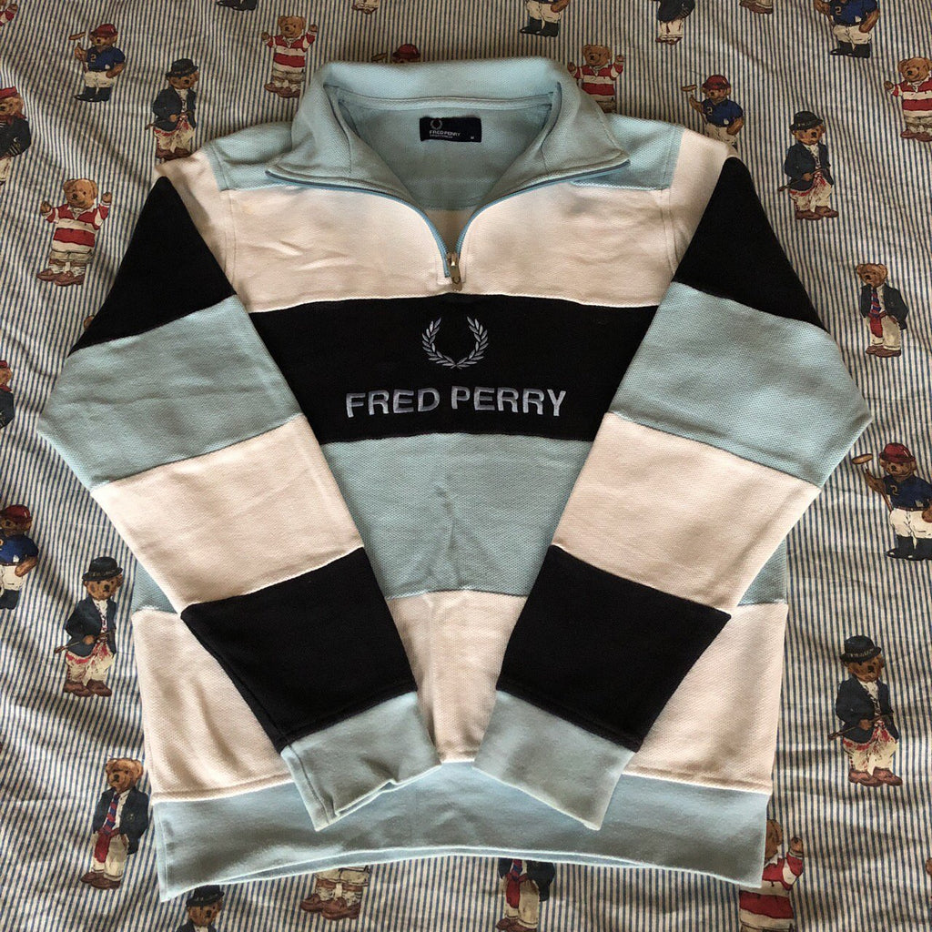 5bb9335563d6c5 Vintage Fred Perry Spell Out 1/4 Zip Sweatshirt (M) – DISTINCT - THREADS
