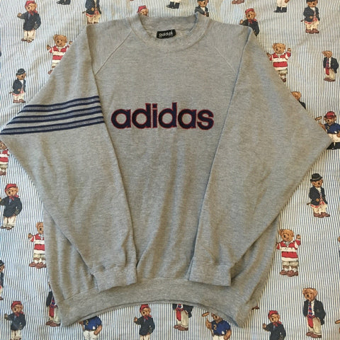 Vintage Grey Adidas Original Sweatshirt (M)-Sweatshirts/Jumpers-DISTINCT - THREADS
