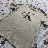 Vintage Grey Calvin Klein Logo Tee (L)-T Shirts-DISTINCT - THREADS
