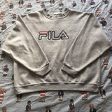 Vintage Grey Fila Spell Out Sweatshirt (XL)-Sweatshirts/Jumpers-DISTINCT - THREADS