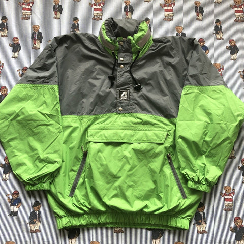 Vintage Grey & Green 1/4 Zip Kway Pac A Mac Jacket (M)-Jackets/Coats-DISTINCT - THREADS
