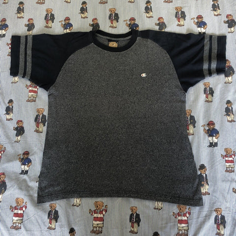 Vintage Grey & Navy Champion T Shirt (M)-T Shirts-DISTINCT - THREADS