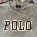 Vintage Grey Polo Spell Out Ralph Lauren Tshirt (S)-T Shirts-DISTINCT - THREADS