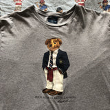 Vintage Grey Ralph Lauren Polo Bear T Shirt 🐻 (M)-T Shirts-DISTINCT - THREADS