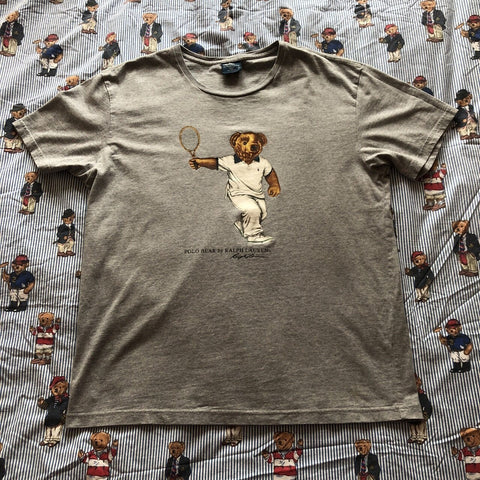 Vintage Grey Ralph Lauren Tennis Polo Bear T Shirt 🐻(M)-T Shirts-DISTINCT - THREADS