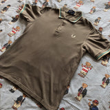 "Vintage Grey/Brown Fred Perry Polo Shirt (S/38"")-Polos-DISTINCT - THREADS"