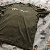 Vintage Khaki Champion Spell Out Tshirt (M)-T Shirts-DISTINCT - THREADS