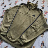 Vintage Khaki Green Adidas 1/4 Zip Sweatshirt (M)-Sweatshirts/Jumpers-DISTINCT - THREADS