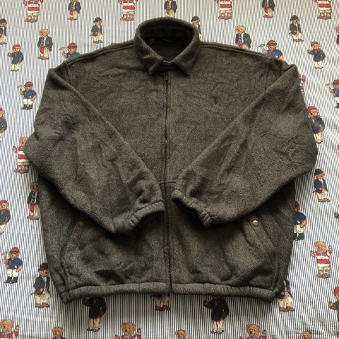 Vintage Marl Grey Ralph Lauren Fleece Harrington Jacket (L)-Jackets/Coats-DISTINCT - THREADS
