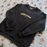 Vintage Navy 90s Ellesse Spell Out Sweatshirt (M)-Sweatshirts/Jumpers-DISTINCT - THREADS