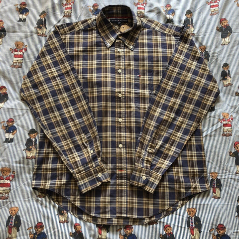 Vintage Navy & Brown Check Tommy Hilfiger Button Down Shirt (M)-Shirts-DISTINCT - THREADS
