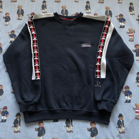 Vintage Navy Ellesse Italia Taped Sweatshirt 🇮🇹 (M)-Sweatshirts/Jumpers-DISTINCT - THREADS