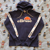 Vintage Navy Ellesse Spell Out & Tapered Hoodie (S/M)-Sweatshirts/Jumpers-DISTINCT - THREADS